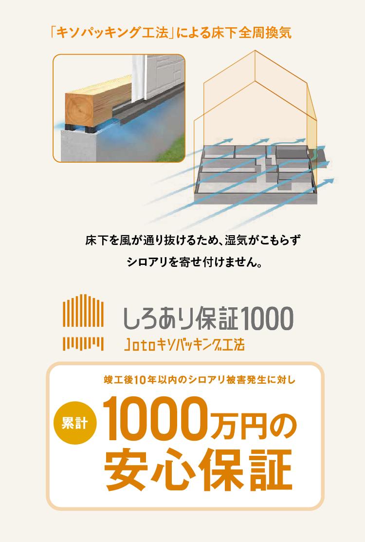 江戸川区で自然素材の注文住宅を建てるニットー住宅 しろあり保証1000