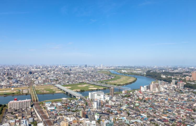 江戸川区で自然素材の注文住宅を建てるニットー住宅 江戸川区の空撮