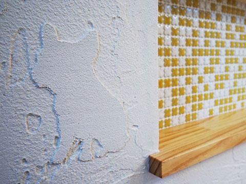 江戸川区で自然素材の注文住宅を建てるニットー住宅 漆喰はただ塗るだけじゃなく自由な形やパターンに成形できる