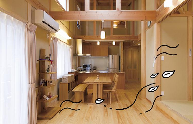 江戸川区で自然素材の注文住宅を建てるニットー住宅 木をふんだんに使ったリビング