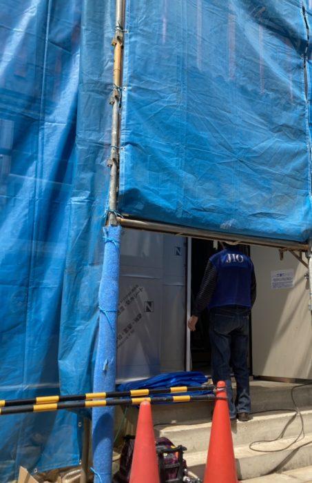 江戸川区で注文住宅を建てるニットー住宅の外装下地検査